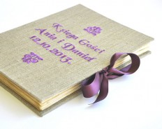 embroidered personalized guestbook purple guest book by papirell
