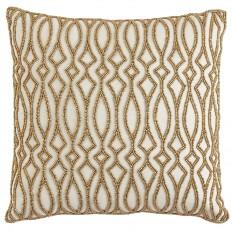 Gold Beaded Tile Pillow
