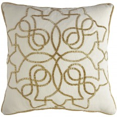 Calico Natural Beaded Medallion Pillow