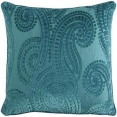 Cut Velvet Paisley Pillow - Teal