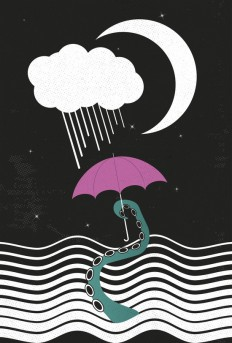 The octopus and the sea (on a rainy day) Art Print by Metron | Society6