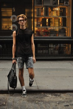 Alex † de la Croix - Zara Sheer Shirt, Vans Old Skool, Vintage Pants - Finding love † SoHo, NYC | LOOKBOOK