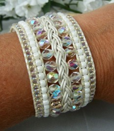 Beaded and Braided Leather Cuff Bracelet Crystal & White - Bridal Jewelry Hand Beaded Custom Cuff Bracelet