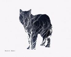 Wolf Art Silhouette texture minimaliste par GrayWolfGallery sur Etsy