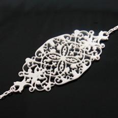 Bracelet Argent, motif filigrané ovale,réglable à 16, 17 ou 18cm