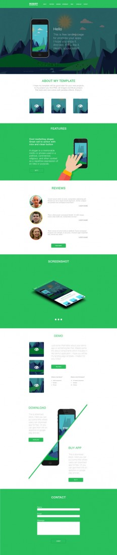 Free HTML Template: MOBAPP Flat Landing Page | OmahPSD