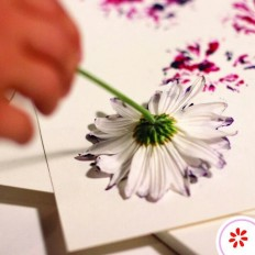 Use flower heads of different shapes as stamps to make cool watercolour style abstract flower print shapes on cards, paper, or fabric. | Diy | Pinterest