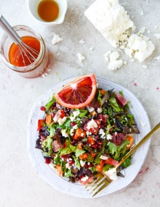 Winter Chopped Salad with Roasted Sweet Potato and Blood Orange Vinaigrette | How Sweet It Is