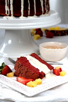 Red Velvet Angel Food Cake with Coconut Cream Cheese Glaze   Carlsbad Cravings