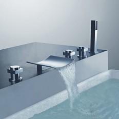 Chrome Finish Curve Spout Three Handles Tub Faucet with Handshower - FaucetSuperDeal.com | Bathtub Faucets | Pinterest