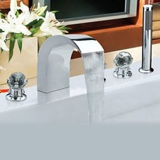 Contemporary Chrome Finish Stainless Steel Widespread Bathtub Faucets with Handheld Faucet - FaucetSuperDeal.com | Bathtub Faucets | Pinterest