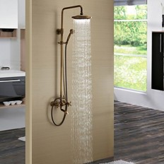 Antique Brass Tub Shower Faucet with 8 Inch Shower Head and Hand Shower - FaucetSuperDeal.com | Shower Faucets | Pinterest