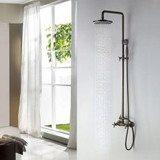 Antique Brass Finish Tub Shower Faucet with 8 Inch Shower Head and Hand Shower - FaucetSuperDeal.com | Shower Faucets | Pinterest