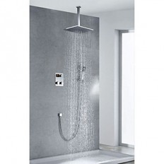 Chrome Finish Contemporary Thermostatic LED Digital Display 12 inch Square Showerhead and Handshower - FaucetSuperDeal.com | Shower Faucets | Pinterest