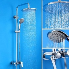 Length:98 -140cm Contemporary Chrome Brass Shower Faucet with Air Injection Technology Shower Head - FaucetSuperDeal.com | Shower Faucets | Pinterest