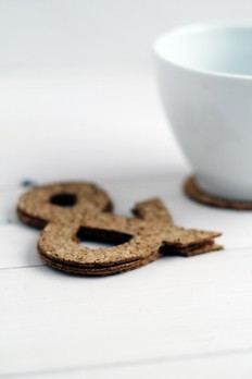 Ampersand Cut Cork Coasters