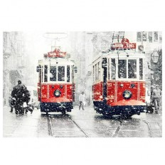 Fancy - Wall decor - SALE Winter Photography, Tram photography, winter, snow photograph, istanbul, red tram, Art Print, 10x15, trains, christmas