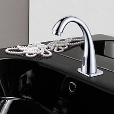 Chrome Finish Contemporary Bathroom Sink Faucet with Automatic Sensor - Faucetsmall.com | Bathroom Sink Faucets | Pinterest