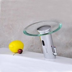 Contemporary Chrome Glass Waterfall Sensor Activated Bathroom Sink Faucet(Hot and Cold) - Faucetsmall.com | Bathroom Sink Faucets | Pinterest
