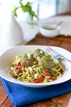 Lamb Meatballs & Mint Pesto Linguine - The Noshery