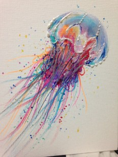 Acrylic Painting Colorful Lion Jellyfish 8 in by LaurenHellerArt on Inspirationde