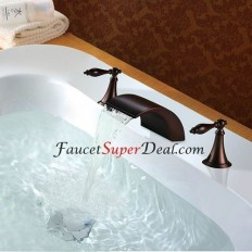 Oil-rubbed Bronze Finish Antique Style Widespread Waterfall Bathtub Faucet - FaucetSuperDeal.com | Bathtub Faucets | Pinterest