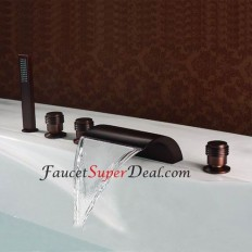 Chrome Finish Contemporary Waterfall Bathtub Faucet - FaucetSuperDeal.com | Bathtub Faucets | Pinterest