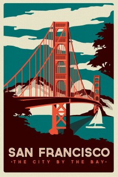 San Francisco Golden Gate Bridge Retro Vintage poster