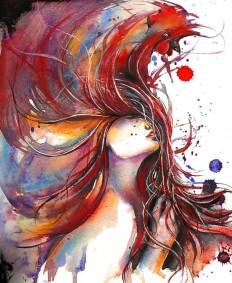 """Saatchi Online Artist: Dreya Novak; Watercolor, 2013, Painting """"Rooster"""" on Inspirationde"""