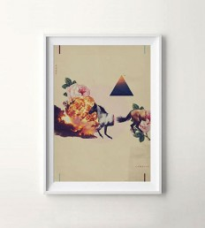 Fuego y Caballo. Collage composition mixing subtle and vibrant vintage illustrations. in Fuego y Caballo