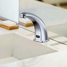 Contemporary Chrome Finish Sensor Brass Bathroom Sink Faucet - FaucetSuperDeal.com | Automatic /Sensor Faucets | Pinterest