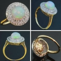 Antique opal engagement ring diamonds gold by adinantiquejewellery
