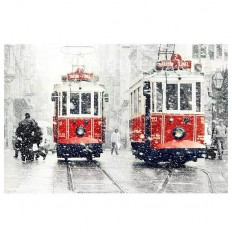 Wall decor SALE Winter Photography Tram photography by gonulk #photography #walldecor #homedecor #wallartprint #tram #red #redtram #street #winter #snow #urban #istanbul #streetphotography #decor #etsy #onsale