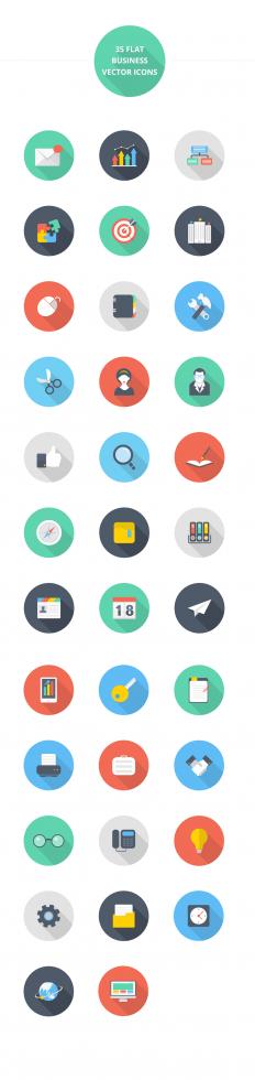 Beautiful Flat style icon set (EPS,AI,PSD,PNG)