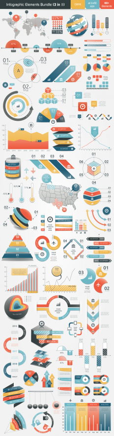 Infographic Elements Bundle (3 in 1) on