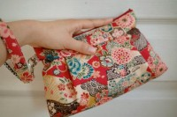 Zipper Pouch with removable strap Kimono pouch by LemidiJapon