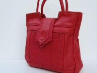 LEATHER BAG Hand Tote Red Orange Medley by by ElizabethZmow
