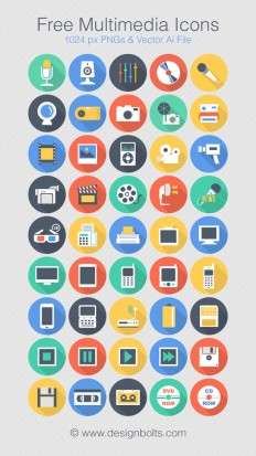 Free Flat Long Shadow Multimedia Icons | 1024 Px PNGs & Vector Ai File