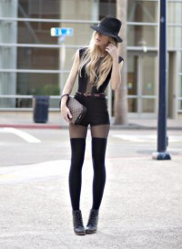 "Urban Outfitters Boots, Vintage Hat, American Apparel Top, Vintage Belt, American Apparel Shorts, Vintage Clutch, American Apparel Socks //""Black Out"" by Jennifer Grace // LOOKBOOK.nu"
