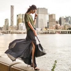 Elle-May Leckenby - Olive Slant Hem Tee, High Waist Slit Pants, Black Wrap Heels, Black Leather Bucket Bag - Somethings changed and I don't know why | LOOKBOOK