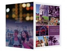 Free Travel Folder Design Template - Purple Sightseeing Design