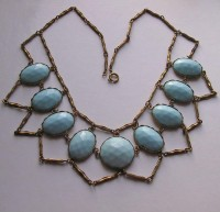 Fabulous late Victorian Turquoise Glass Festoon Necklace from bygonebeauties on Ruby Lane