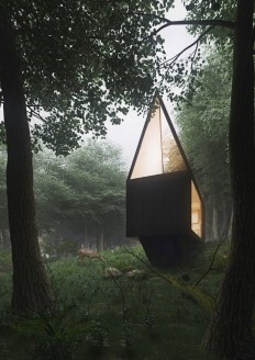 Cabin in a forest with minimal impact on the environment on Inspirationde