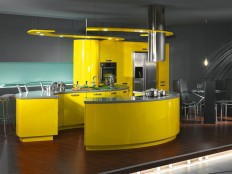 Accentuating the Kitchen in Grey and Yellow Color : Home Decorative