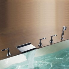 Modern Design Chrome Finish Contemporary Rectangular Waterfall Tub Faucet with Handshower - FaucetSuperDeal.com | Bathtub Faucets | Pinterest