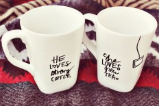 His + Her Sharpie Mug DIY - A Beautiful Mess