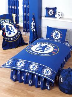 Chelsea FC Border Crest Single Size Duvet Cover & Pillowcase, - Bedding