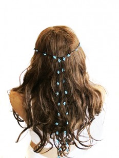 crochet Headpiece Headband Hair Piece blue beaded by selenayy