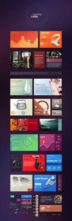 Colorful Tiles UI Kit | GraphicBurger