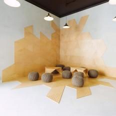 Interior Contemporary Decor Pendant Lamp White Wall White Flooring small conference room design ideas - FogFuels